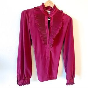 Vintage Wine Button Down Blouse